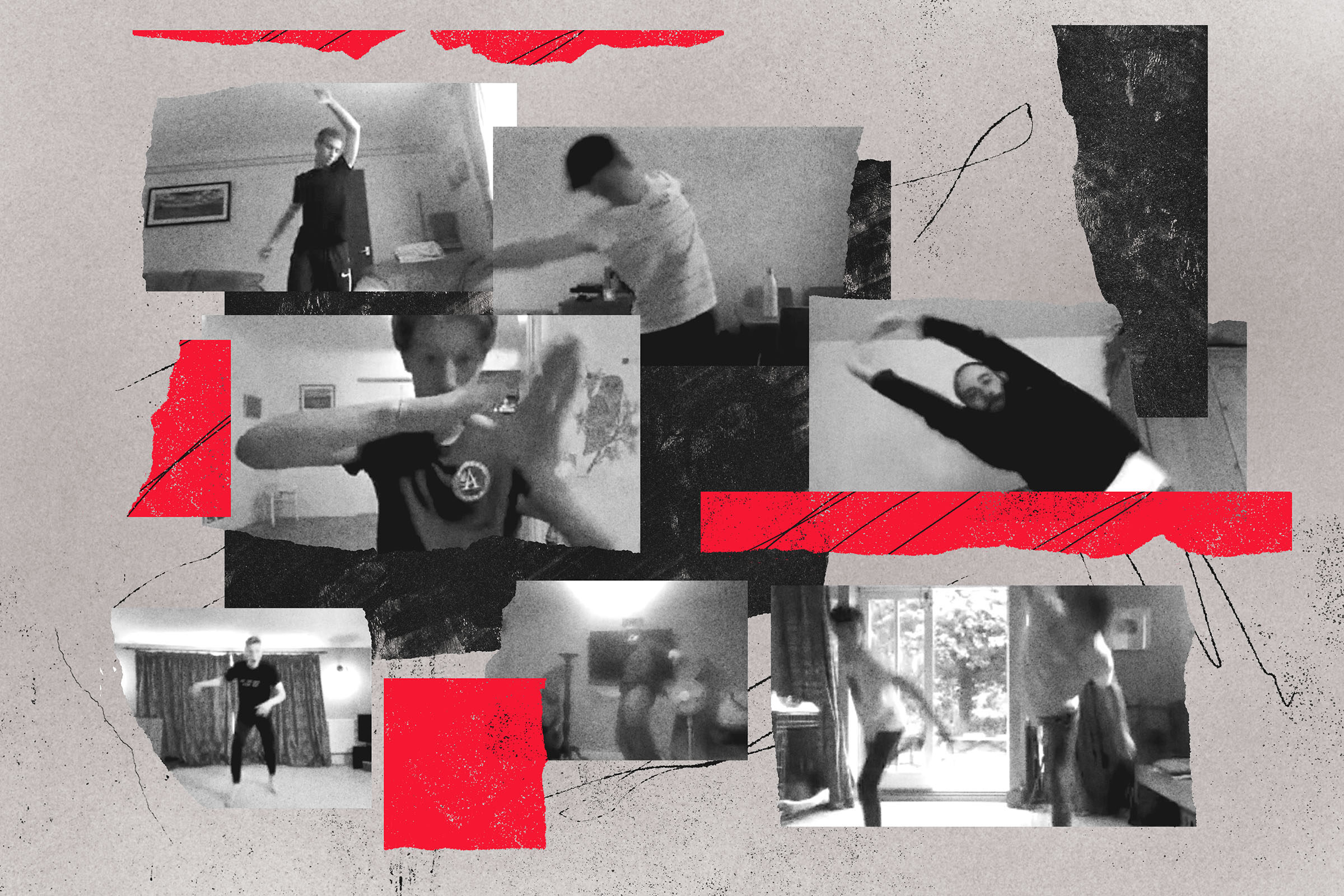A collage of photographs featuring youth dancers rehearsing online