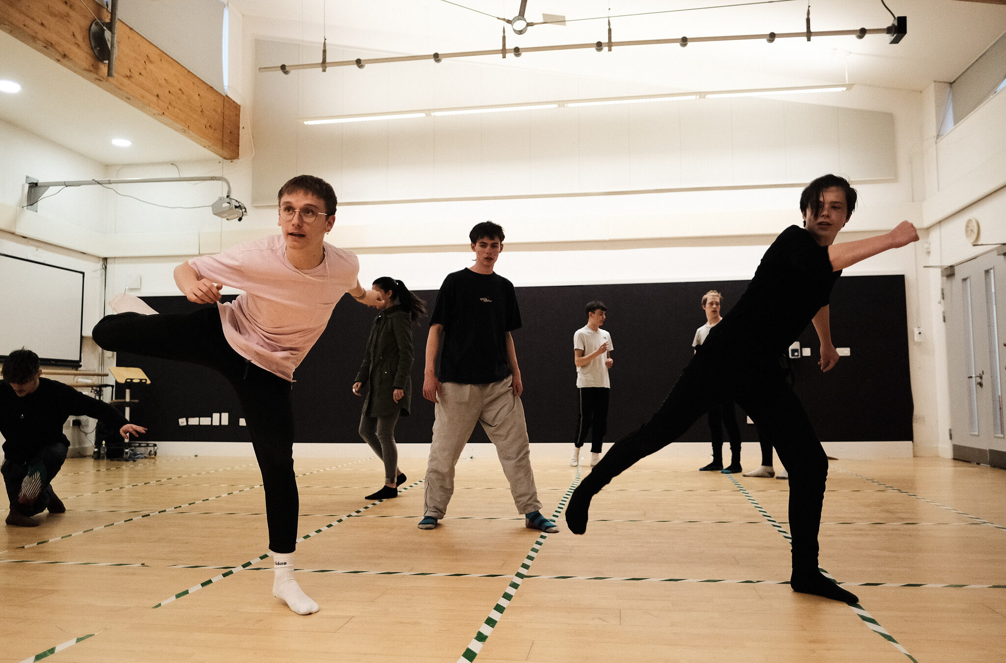 Young male dancers in a dance studio