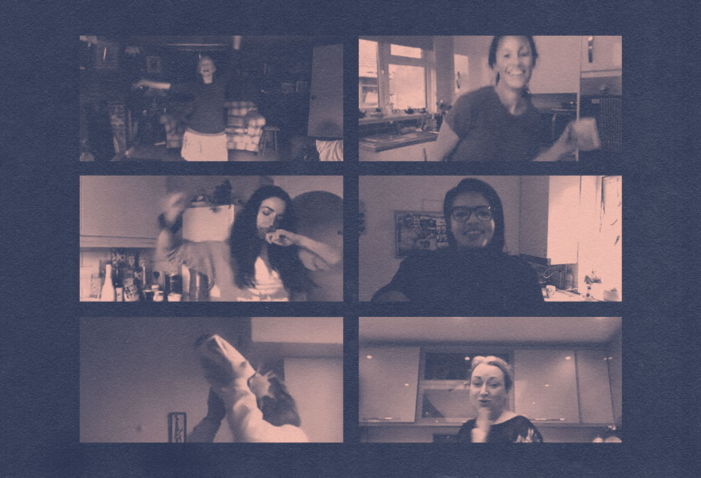 Grid of six women dancing in their kitchens via online video